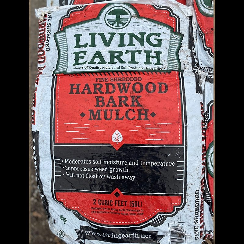 Living earth hardwood bark mulch bag